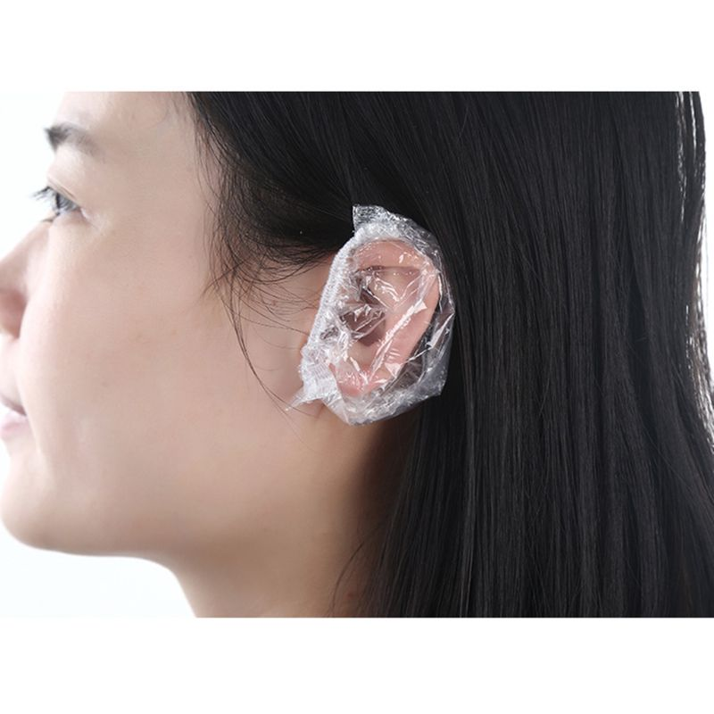 100Pcs Thickened Disposable Plastic Waterproof Ear Protector Cover Caps Salon Hairdressing Dye Shield Earmuffs Shower Tool