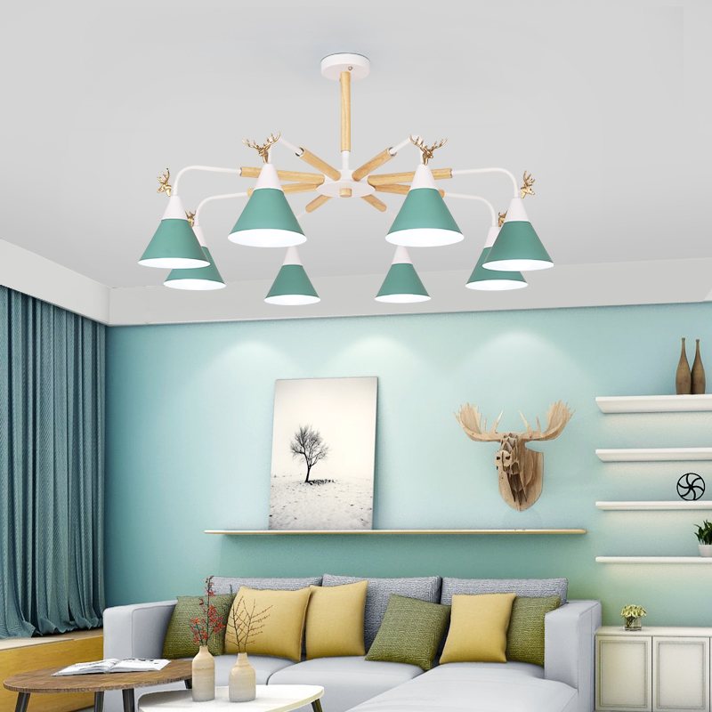 Nordic lighting living room chandelier wood personality modern minimalist style bedroom lamp restaurant light macarons chandelie nordic novelty modern led wood chandelie living room pendant lamp bedroom stair lighting loft hanging lights fixture home light