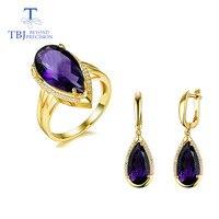 TBJ, природный Африка Аметист Груша ювелирные кольца из драгоценных камней и серьги в 925 драгоценности из серебра и камней для женщин с подаро