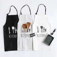 Nordic Baking Master Kitchen Tools Print White Black Stripe Fresh Apron Cotton Kitchen Cooking Baking Love Apron