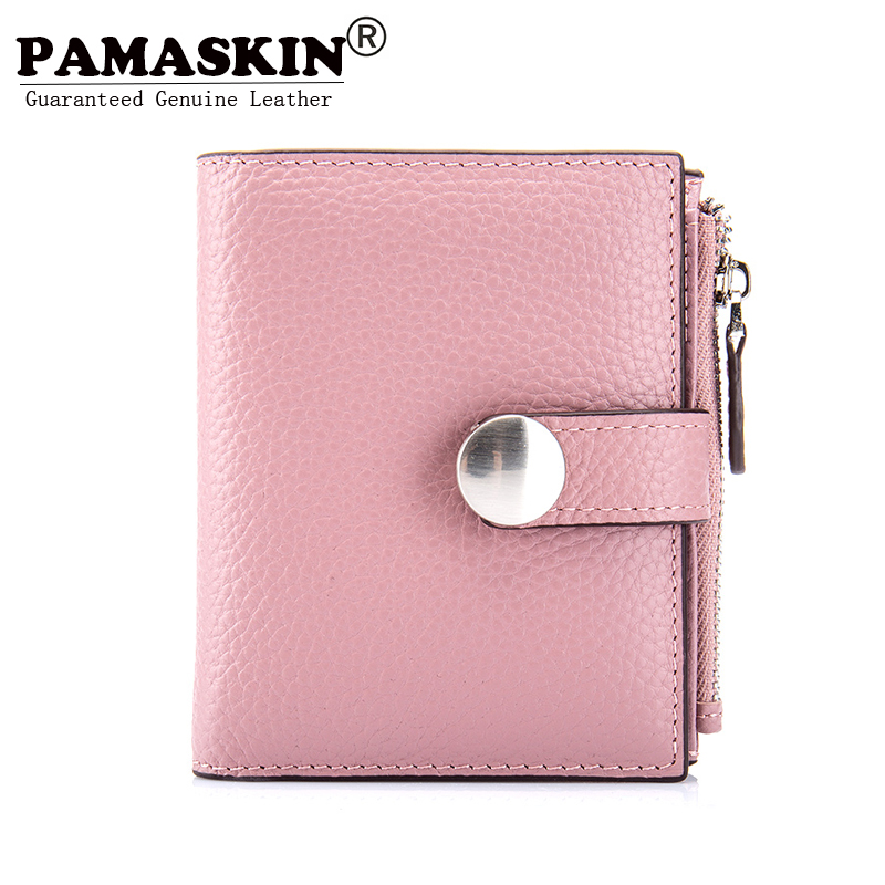 PAMASKIN Brand Short Female Wallets Premium Cow Leather 2018 Hot Selling Fashion Bi-fold Women Zipper Coin Purses Factory Price