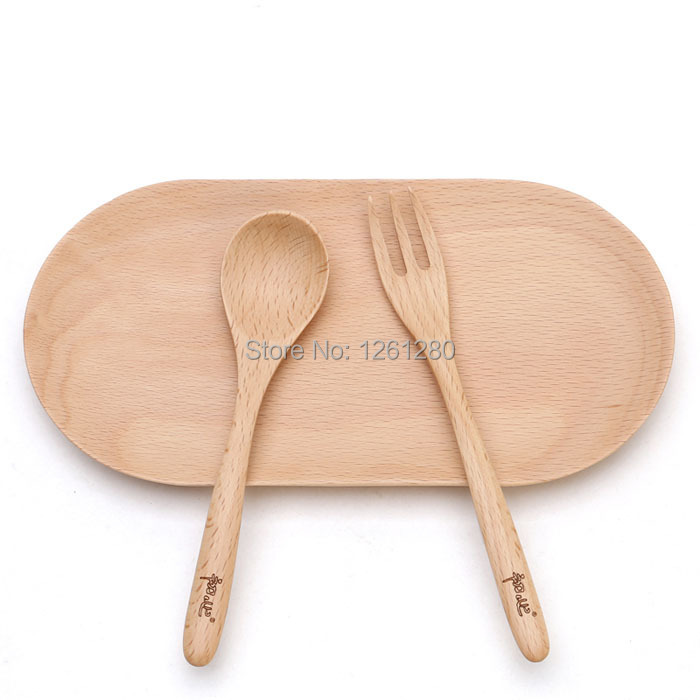 free shipping dinnerware set Natural wood spoon children fork portable tableware household dry fruit dish creative