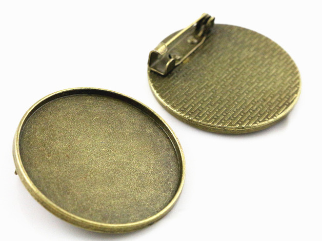 5pcs 30mm Inner Size Antique Bronze Brooch Cabochon Base Setting (B5-01)5pcs 30mm Inner Size Antique Bronze Brooch Cabochon Base Setting (B5-01)