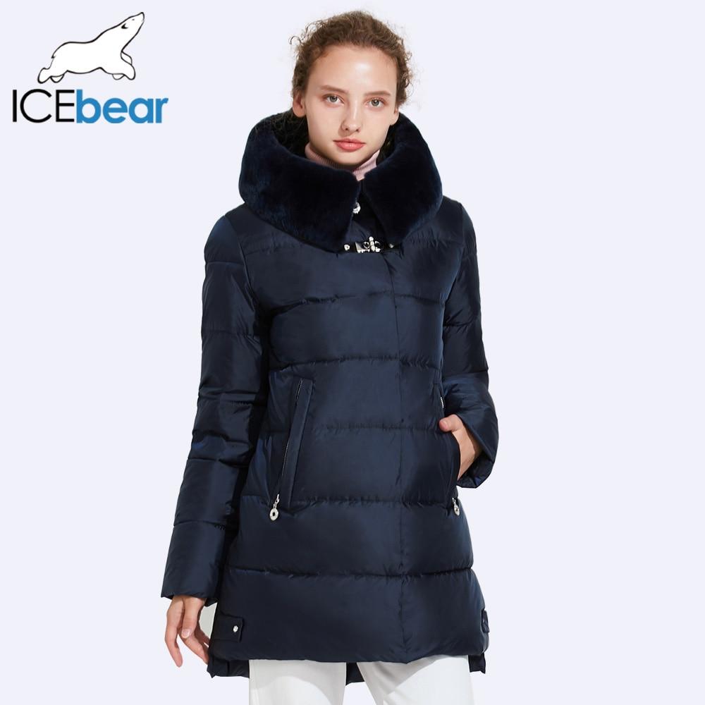ICEbear 2017 гладкой съемный меховой воротник зимняя куртка Для женщин Качество с декоративными пряжками Для женщин стеганые женские парки 17G6535