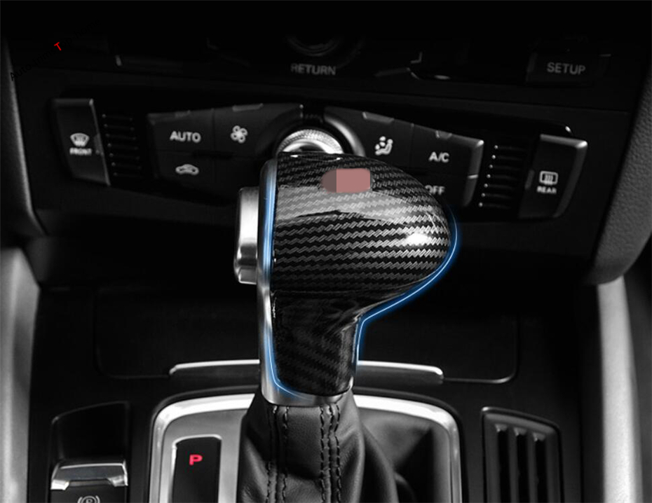 Yimaautotrims Gear Stall Shift Knob Cover Trim Fit For <font><b>Audi</b></font> <font><b>A4</b></font> B9 <font><b>2013</b></font> - 2016 / A6 <font><b>2013</b></font> - 2017 Interior ABS Carbon Fiber Look image