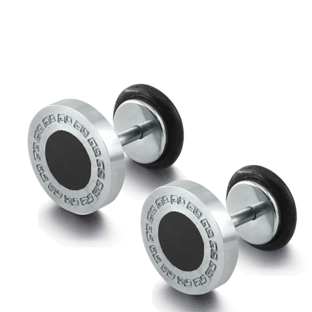 1pair High Quality Fake Ear Plug Stainless Steel Ear Stud Earrings Fake  Cheater Plugs Stud Earrings Wall Texture With Black Oil