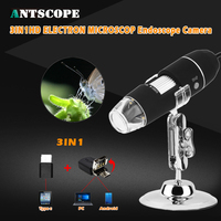 3IN1 Antscope 500-1000X Magnifier 8 LED Digital Câmera Endoscópio Microscópio Lupa Eletrônica Microscópio USB Android Estéreo