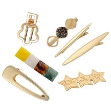 Fashion Woman Hair Accessories Triangle Clip Pin Metal Geometric Alloy Hairband Moon Circle Hairgrip Barrette Girls Holder