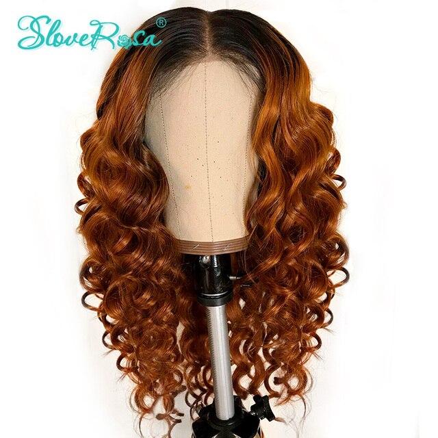 Вьющиеся Синтетические волосы на кружеве натуральные волосы парики для Для женщин натуральный черный и T1B/оранжевый Цвет перуанский Реми парик глубокая часть полный конец Slove Rosa