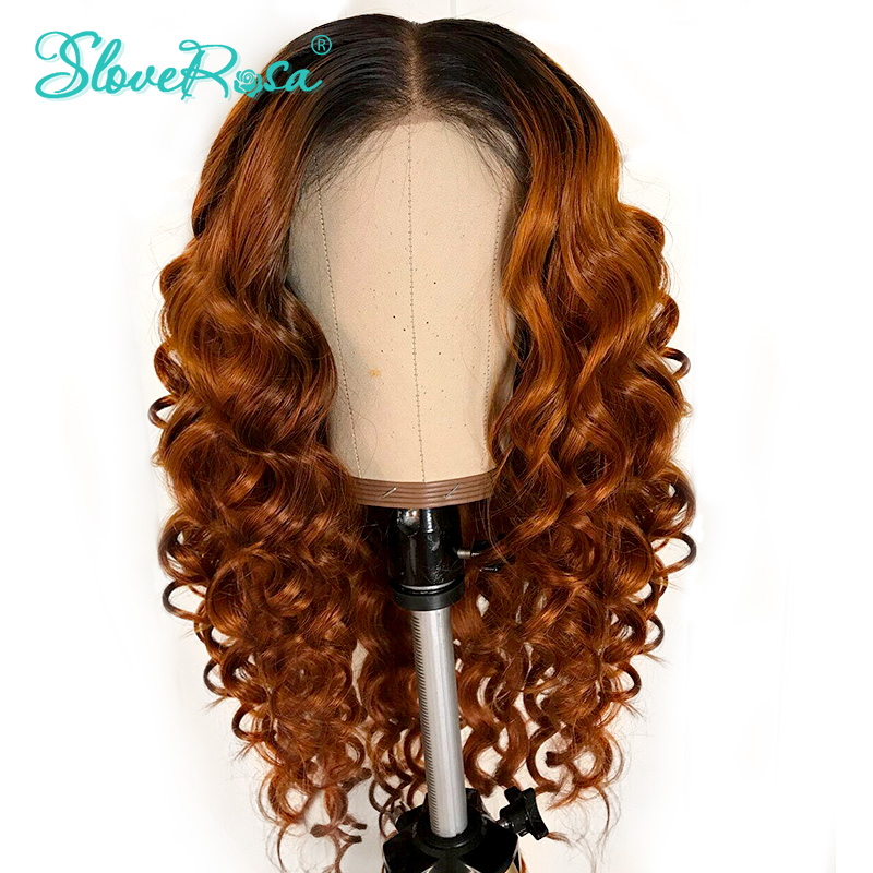 Curly Lace Front Human Hair Wigs For Women Natural Black & T1B/Orange Color Peruvian Remy Lace Wig Deep Part Bleached Slove Rosa-in Human Hair Lace Wigs from Hair Extensions & Wigs    1