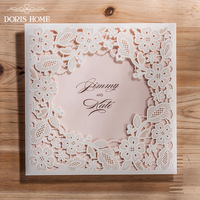 White Square Hollow Flora Vintage Laser Cut Wedding Invitation Engagement Invitation Anniversary Invitation CW5197 50 Pcs