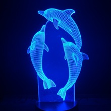 Clever Animals 3d Lamp Cute infant Boys Present for Lover Three Dolphins Led Night Light LED Decorative Dropship Novetly Bedside