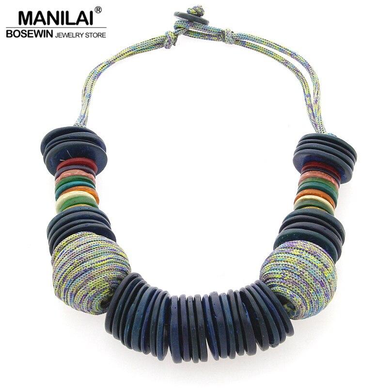 MANILAI Main Plage Bohème collier de déclaration Pour Les Femmes Chunky Foulard De Noix De Coco shell collier Bijoux Femme