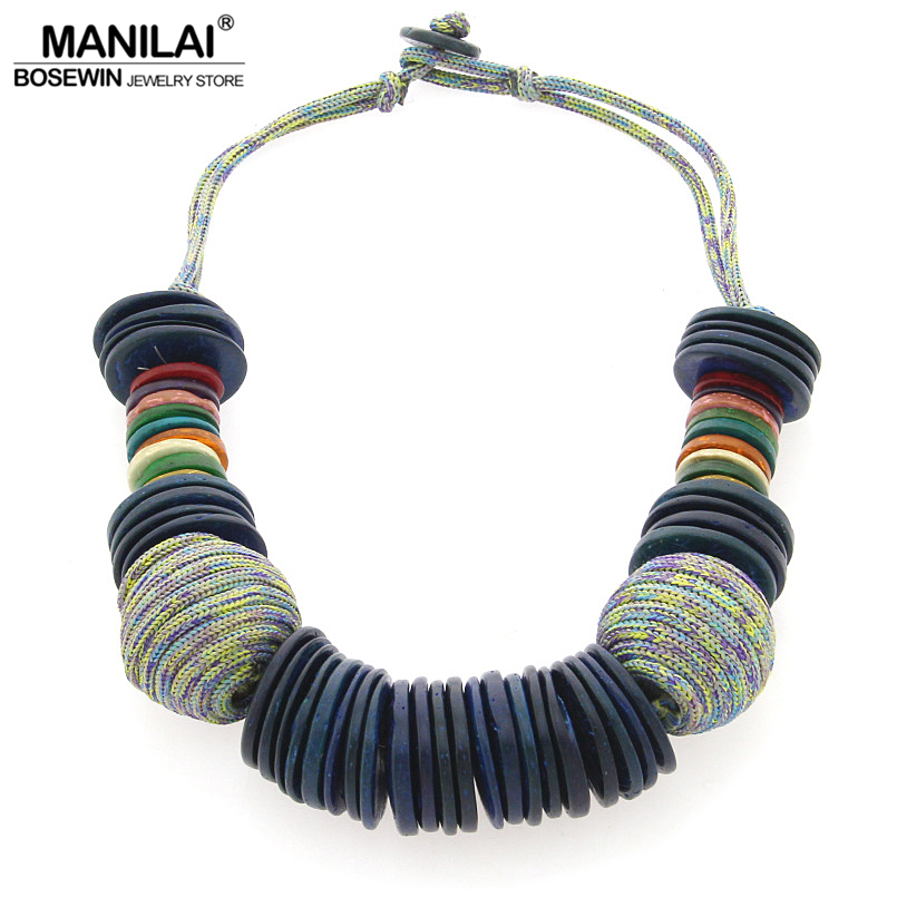 MANILAI Handmade Beach Bohemian Statement Necklace For Women Chunky Choker Coconut shell Collar Necklace Bijoux Femme все цены