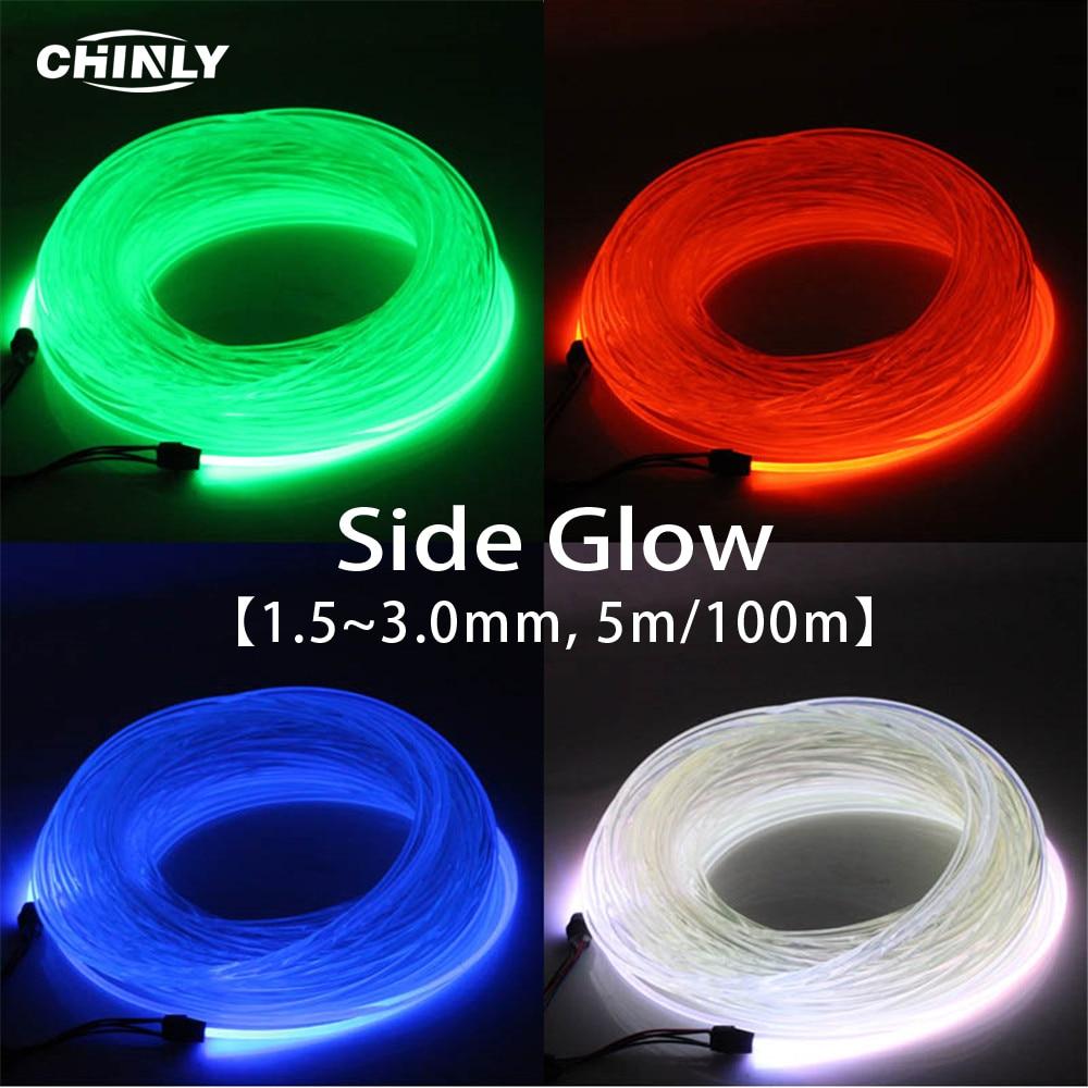 Side Glow Fiber Optic Light Cable 5m 1.5mm 2mm 3mm Optical Lighting Fiber Optical Cable For Car Night Lights & Home Decoration