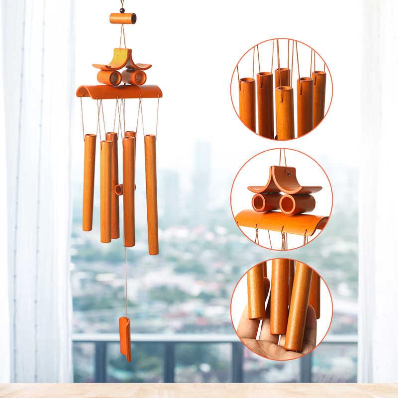 Бамбук колокольчиков трубки уличные висящие колокольчики украшения Деревянные Колокольчики подарок на счастье Ringings садовые украшения домашнего декора