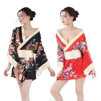 Sexy Deep V Neck Kimono Japanese Traditional Japon Kimono Women Satin Floral Printed Nightwear Short Bath