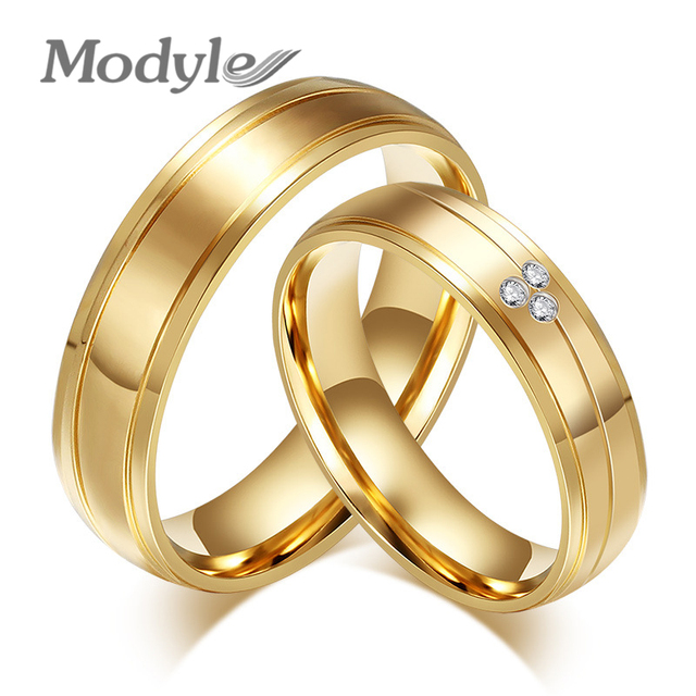 Modyle 2017 New Fashion Gold Color couple rings CZ stainless steel