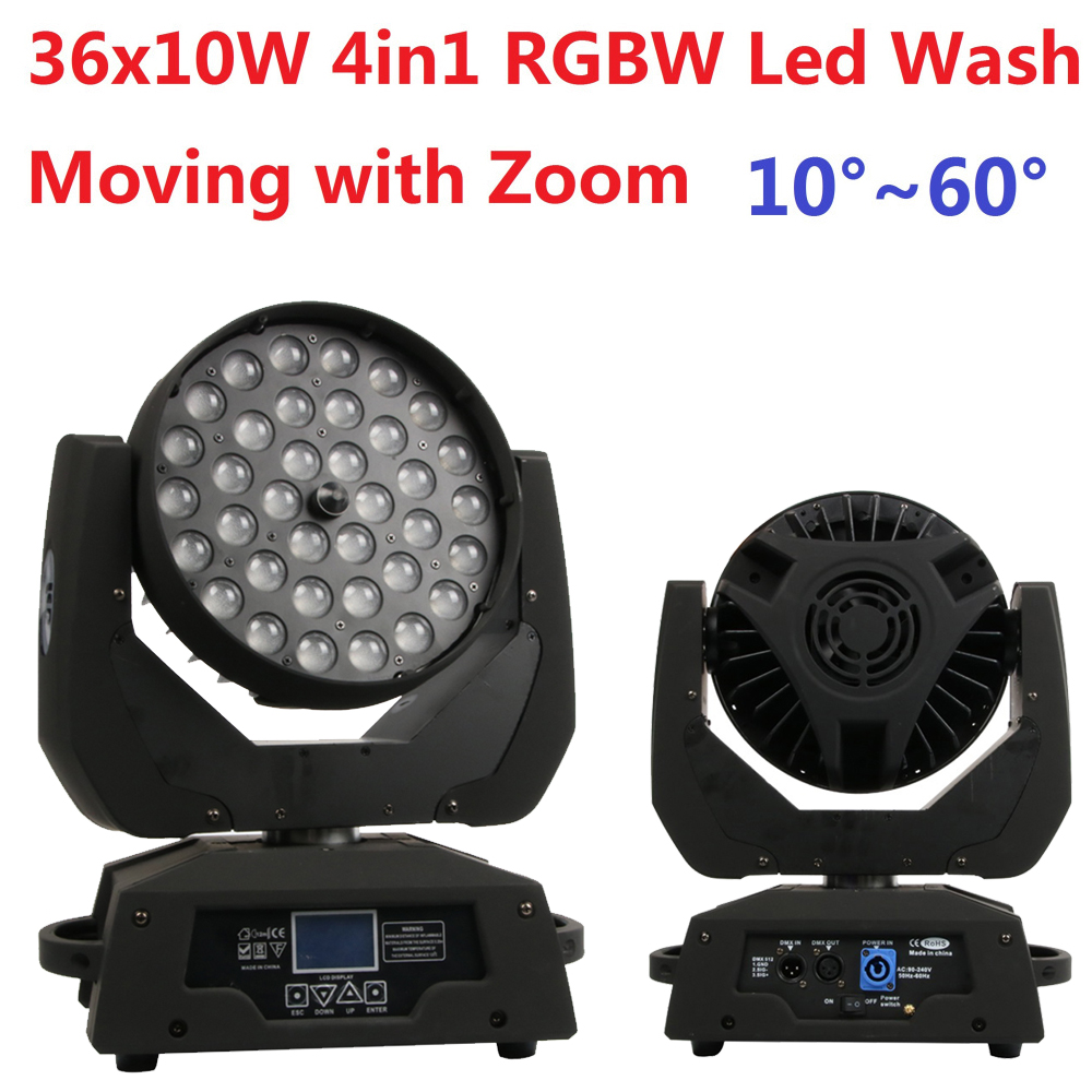 Free Shipping 36x10W RGBW 4in1 Led Wash Beam Moving Head Led Stage Lights with Zoom DJ DMX Disco Effect Equipments Party Wedding factory price 4pcs led moving head zoom wash light 36x10w rgbw 4 in1 stage night club disco bar uplighting fast