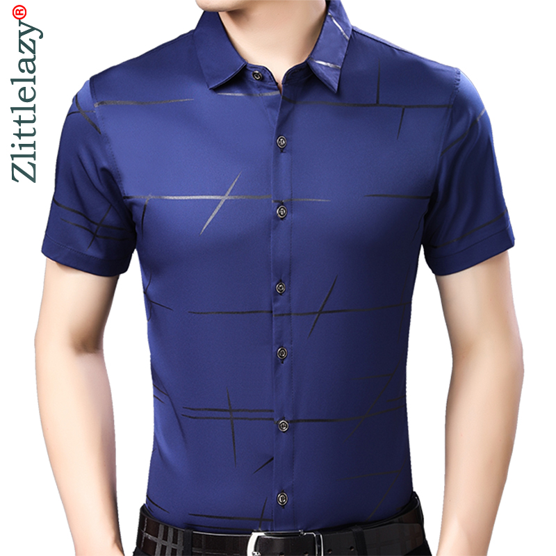 2019 Brand Casual Summer Luxury Striped Short Sleeve Slim Fit Men Shirt Streetwear Social Dress Shirts Mens Fashions Jersey 4161