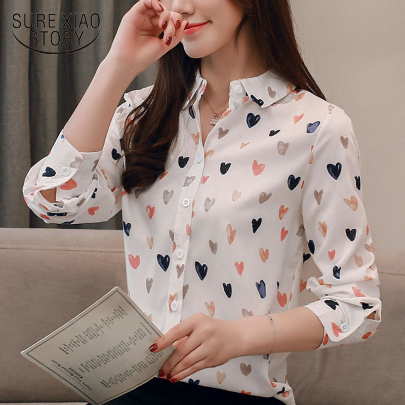 Causal Shirt Women's Spring 2019 New Print Flower Long-sleeved Loose Fashion Womens Tops And Blouses Plus Size Bluasa 2201 50