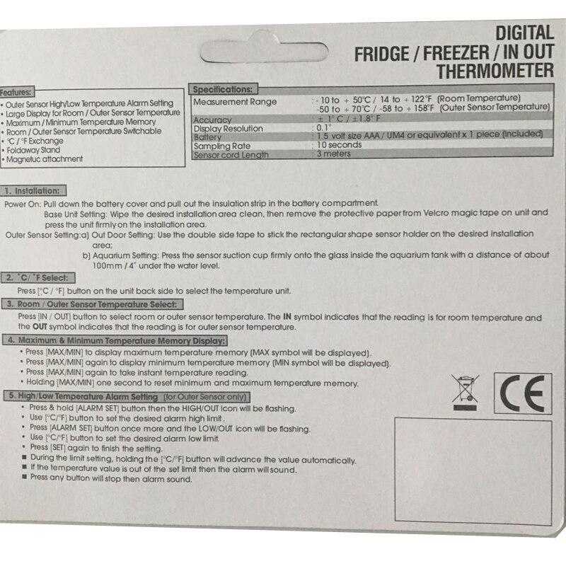 VICI TM803 большой ЖК-дисплей холодильник с морозильной камерой цифровой сигнализацией термометр-50~ 70 градусов по Цельсию