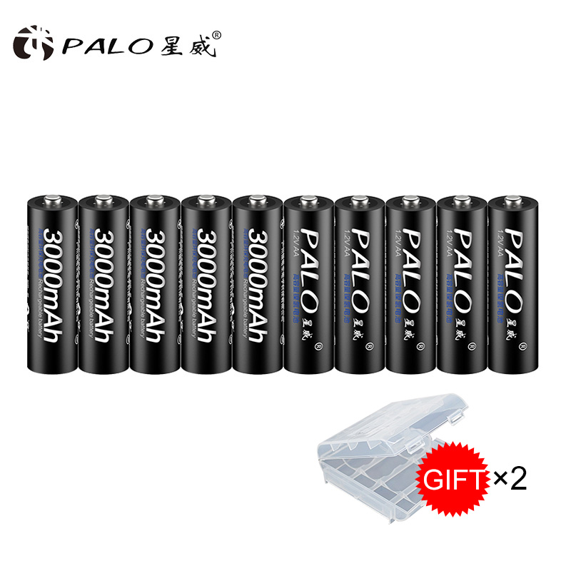100% original PALO Battery 3000mah 1.2V NI-MH Battery Rechargeable Batteries Pre-charged 2A Baterias for Camera 4pcs aa battery rechargeable batteries 1 2v aa 3000mah ni mh pre charged rechargeable battery 2a baterias for camera with a box