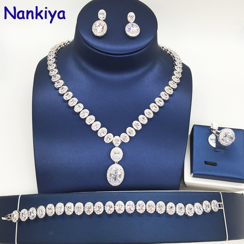 Nankiya Luxury Classic Ellipse Women Wedding Jewelry Set AAA Cubic Zirconia 4pcs Necklace Earring Ring Bracelet bridal Set NC076 4pcs bridal fashion flower cubic zirconia inlaid wedding necklace dangle earrings bracelet ring jewelry set boucle d oreille