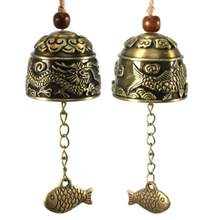 Blessing Bell Luck Dragon/Fish Feng Shui Bell Blessing Good Luck Fortune Hanging Wind Chime Decorative Pendant Drop Shipping(China)