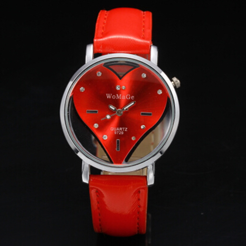 f4cabc63a1742 Fashion Red Heart Hollow Watches Women Rhinestone Casual Clock Leather  Quartz Relogio Couples Lovers Watch Valentine s