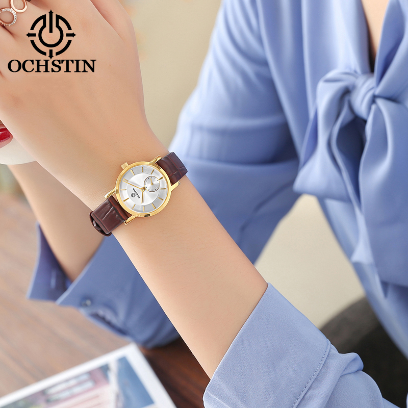 OCHSTIN Ladies Watch Leather Strap Quartz Women Watch Ultra Thin Casual Clock Female Dress Montre Femme Saat Fashion Casual newly design dress ladies watches women leather analog clock women hour quartz wrist watch montre femme saat erkekler hot sale