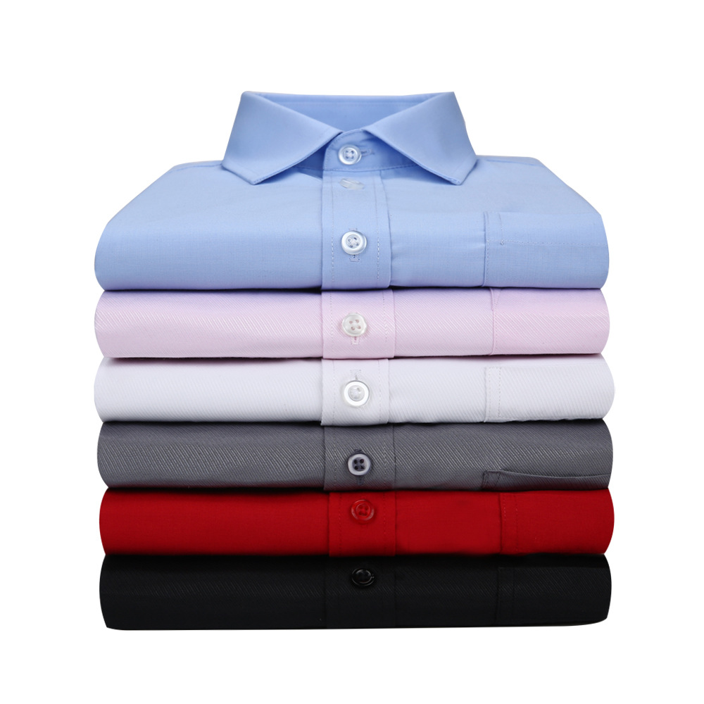 mens long sleeve dress shirts male big size XL business office casual slim fit white pink navy wine blue plain striped spring