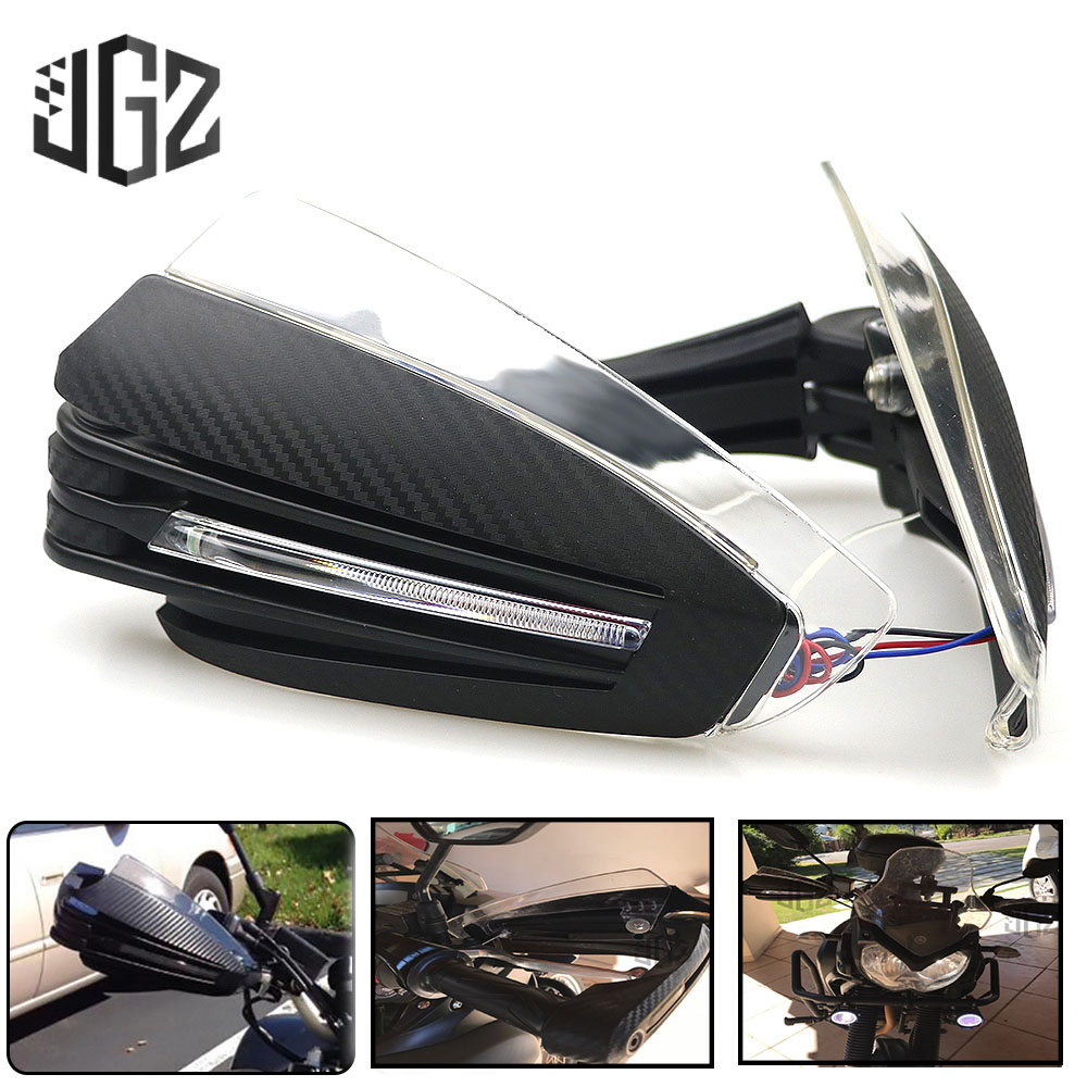 7 8 22mm Motorcycle Hand Guards with LED Turn Signal Light Carbon Look Hand Protection Universal