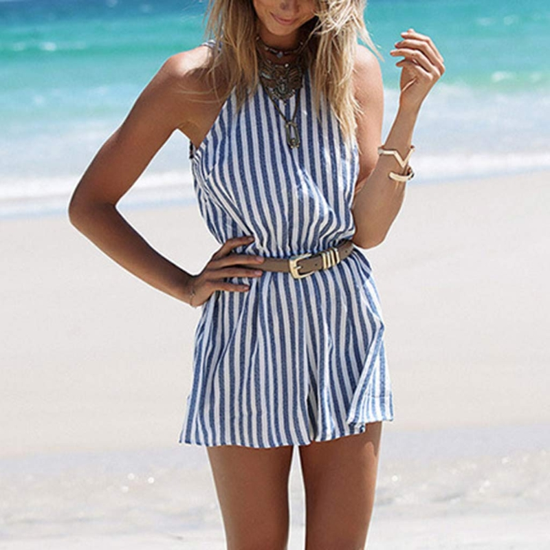 Women Vertical Stripe Strappy Jumpsuits Summer Beach Style Backless Romper