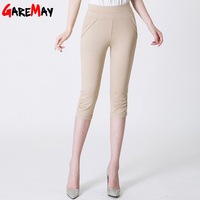 GAREMAY Causal   Pants   Capri Women Plus Size High Waist Stretch Khaki Cropped   Pants   Female Summer   Capris   Trousers Big Size Clothes