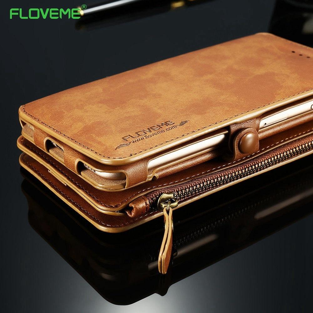 imágenes para Floveme pu leather case para el iphone 7 6 s 6 más 5 5S sí retro monedero cubierta protectora del teléfono móvil bolsa para iphone 6 7 plus conchas