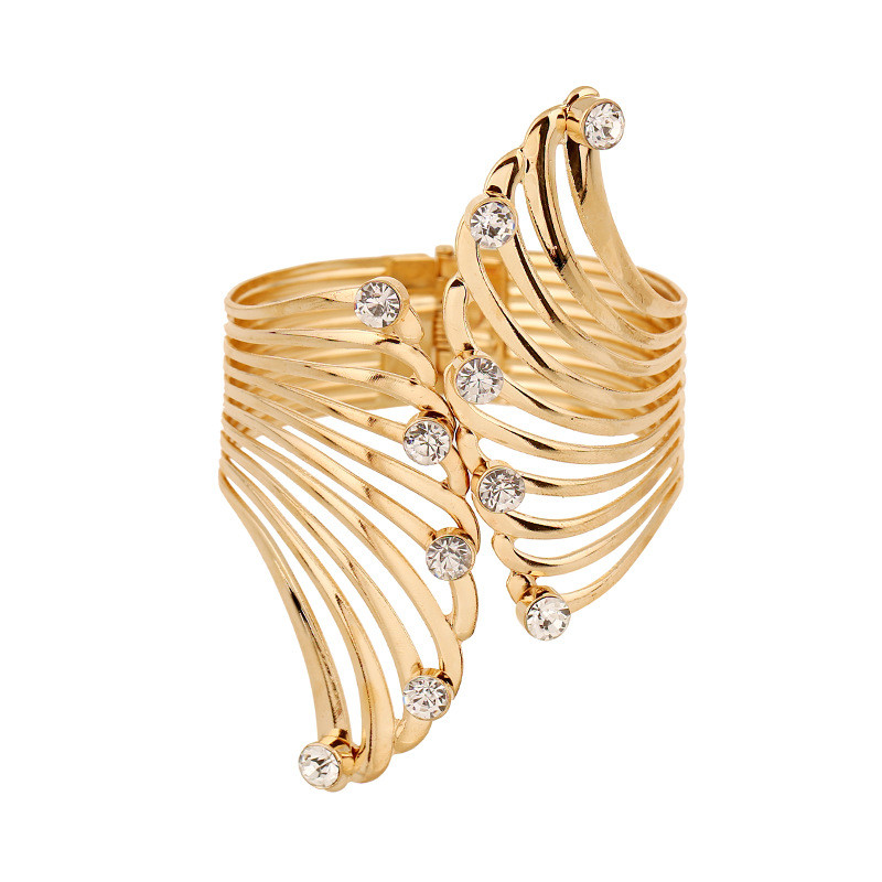PINIYA Fashion Alloy Wing Design Crystal Cuff Bangle For Jewelry Gold Color Wrap Charm Open Bangle Bracelet Women Accessories