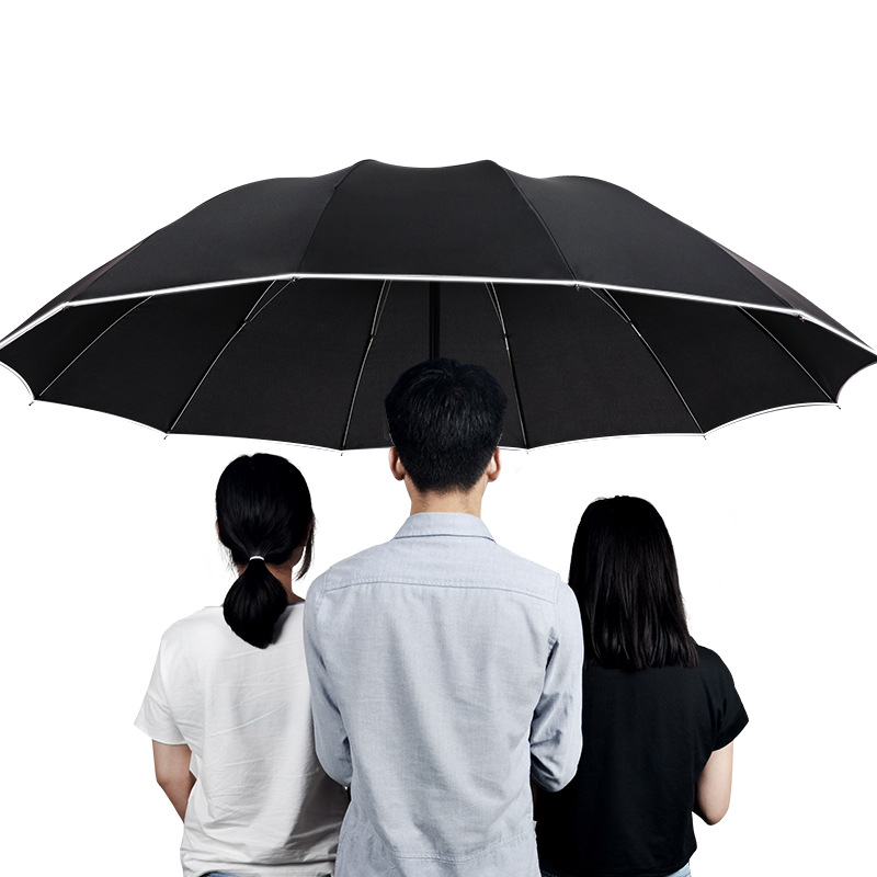 Oversized Three-Person Twelve Bone Umbrella Three Folding Windproof Sunscreen Rain Men'S And Women'S Double Business Umbrella 15pcs windproof reverse folding double layer inverted chuva umbrella self stand inside out rain protection c hook hands for car