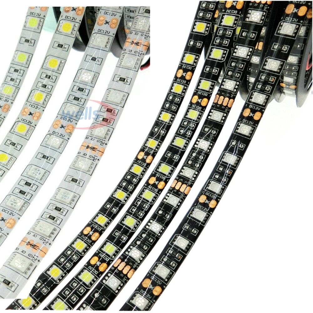 5 m/lot bande de LED Flexible 5050 60 LED s/m lumière LED RGB/blanc/blanc chaud/rouge/vert/bleu 5050 bande de LED DC12V