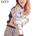 RZIV женщин куртки 2016 розовый бомбардировщик куртка случайные джинсовые куртки вышитые колющие дамы