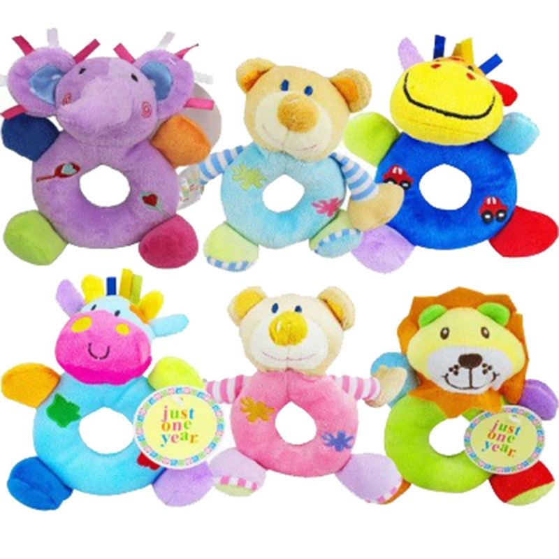 Kawaii Infant Plush Doll Toys Baby Round Hand Ringing Mobile Rattles Cute Useful Intellige Smooth Soft Animal Toy