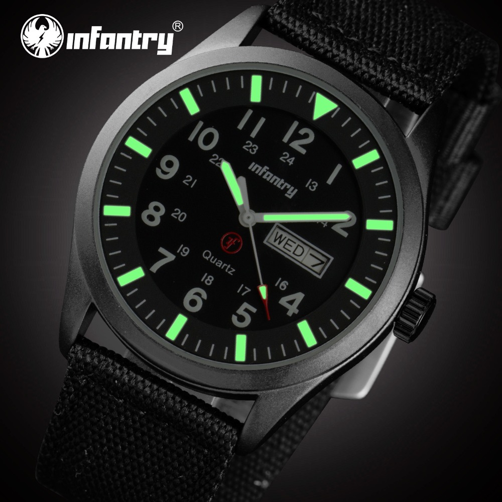 INFANTRY Mens Luminous Military Analog Date Day Sport Wrist Watch Nylon Band Relogio Masculino 24 Hours