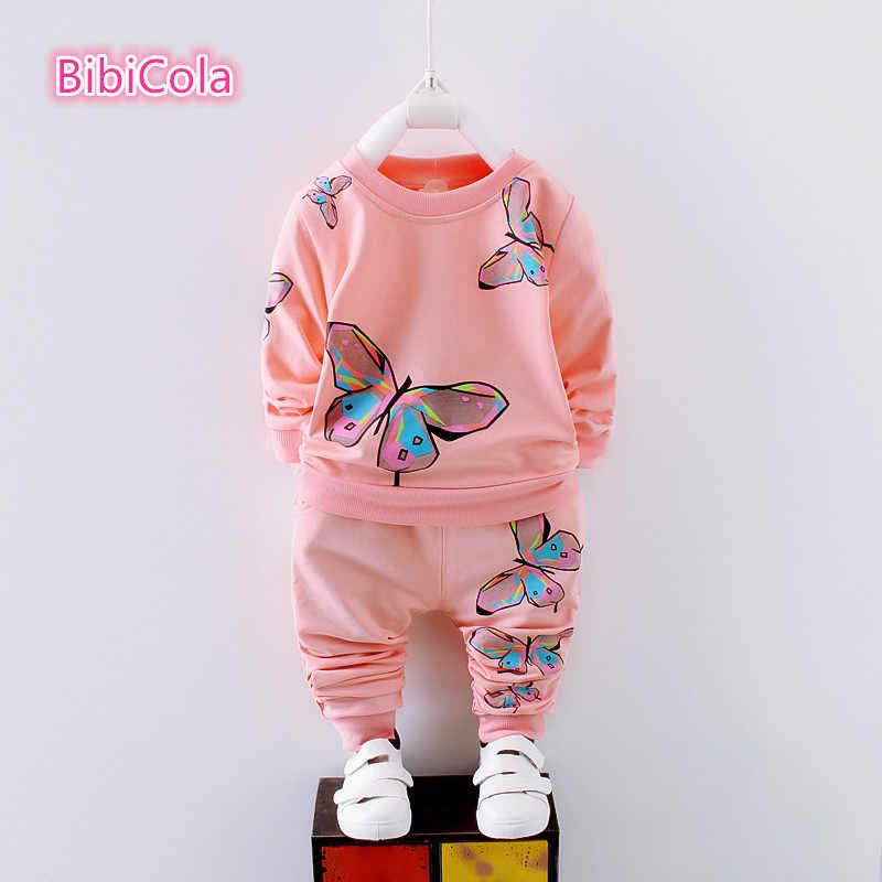 BibiCola/комплект одежды для маленьких девочек; сезон весна-осень; Детские Спортивные Повседневные комплекты; свитер с длинными рукавами и Рисунком бабочки и штаны; 2 предмета