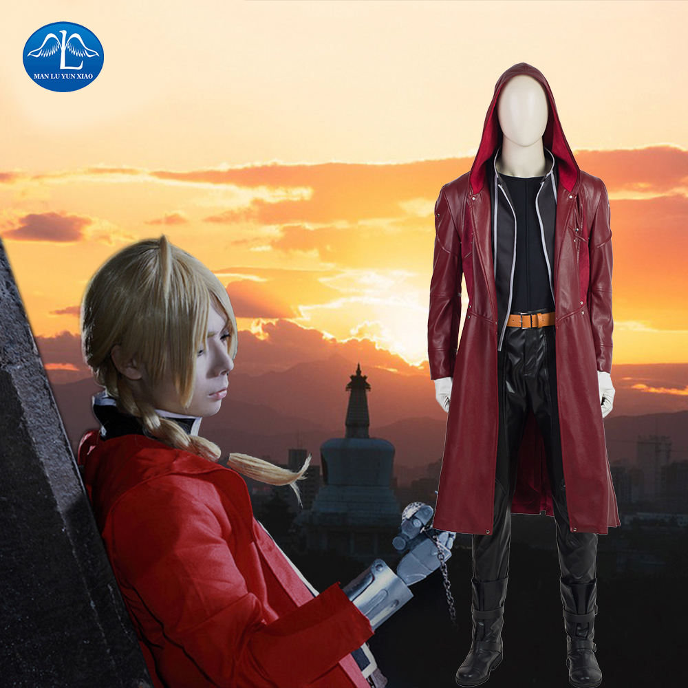 MANLUYUNXIAO New Men's Fullmetal Alchemist Cosplay Edward Elric Costume Halloween Costumes For Men High Quality Custom Made