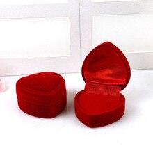 Мини милый красный чехол для переноски s складной красный в форме сердца кольцо коробка для колец крышка открытый бархат дисплей коробка ювелирные изделия Упаковка Чехол