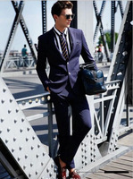 Navy Bule Two Buttons Notch Lapel Suits Handsome Tuxedos Custome Homme Fashion Terno Slim FitSuit Jacket