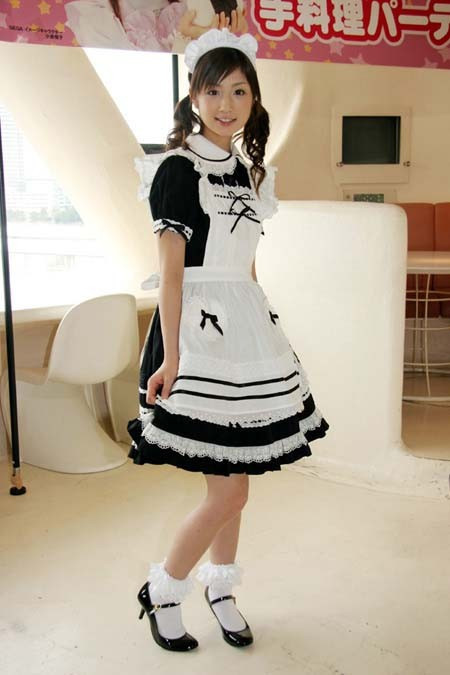 Japanese Girl Lolita Maid  anime cosplay clothes black and white convention costume dress free shipping