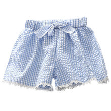 Children's Clothing 2016 Summer Cute Cotton Shorts Small Squares Small Medium-sized Baby Girl Plaid Elastic Waist Pants Bowknot