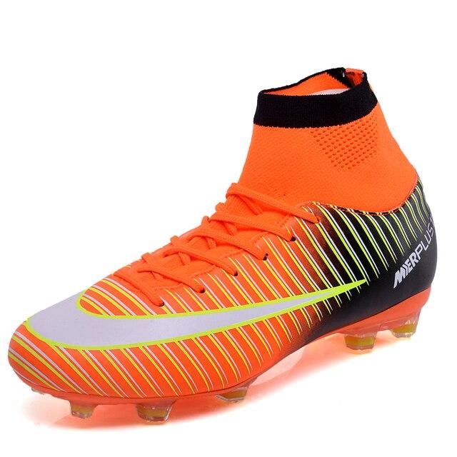 Botas de futebol Crianças E Adultos Superfly V FG Futebol Sapatos CR7 Alta  Tornozelos Sapatos Meninos b1a2308beb60a