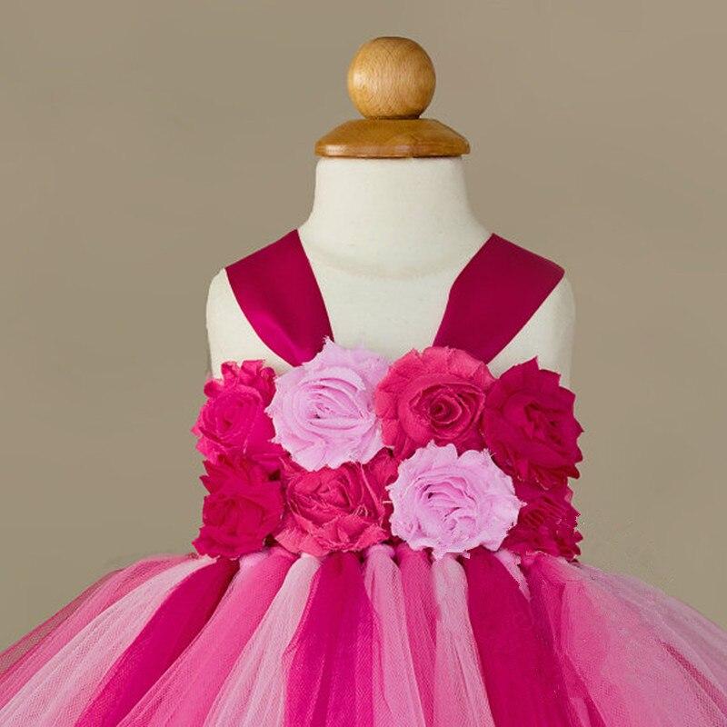 Fleur Filles Tutu Princesse Robe Cheville Longueur Coloré Boutique Moelleux Filles Robe De Bal Parti De Bal Robes 2-10Y - 4